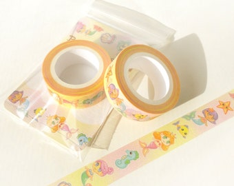 Mermaid Washi Tape. Planner Decoration. Kawaii Washi Tape. Cute Washi Tape. Masking Tape. Planner Supplies. Craft Tape. Anime Washi Tape.