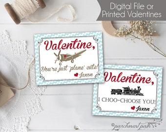 Train Valentine - Airplane Valentine - Personalized Valentine Cards - Printable Valentines - Valentines for Boys - Printed Valentines