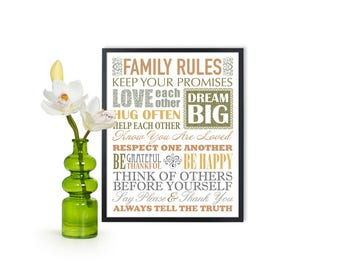 INSTANT DOWNLOAD Family rule Print, Printable family rules print, family rules poster, family Subway art, House Rules sign, home rules art