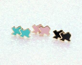 Enamel Texas Earrings - Hard Enamel Texas Earring Stud Texan Earrings State Earrings Gold Earring Studs Cute Sweet Earrings Texas Jewelry