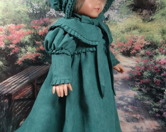 1812 Pelisse with matching bonnet for American Girl or similar 18 inch doll.