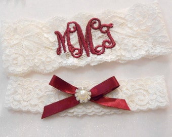 MONOGRAMMED Wedding Garter 2 Inch MONOGRAMMED Bridal Garter Floral Stretch Lace Bridal Garter Single Garter