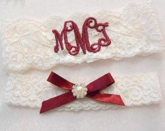 MONOGRAMMED Wedding Garter 2 Inch MONOGRAMMED Bridal Garter Floral Stretch Lace Bridal Garter Single Garter