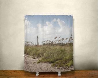 lighthouse beach shower curtain nature decor florida coast florida decor light house