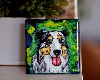 "4"" Custom Pet Tile, Hand made alcohol ink design, Furbaby, Hand Painted, Animal Lover, Unique Gift Idea, Abstract Portrait, Dog and Cat Art"