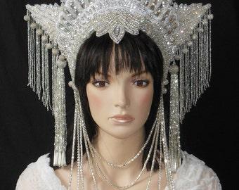 Fantasy Winter Queen Snow Princess Crystal Star crown headdress headpiece Rhinestones Wedding Bridal Beaded glass fringe tassels costume