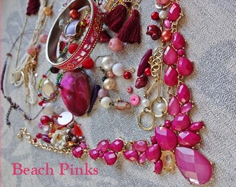 Repurposed Jewelry Supplies Found Objects For Assemblage Jewelry,Jewellery Destash, Jewelry Supplies, Assemblage Supplies, BEACH PINKS
