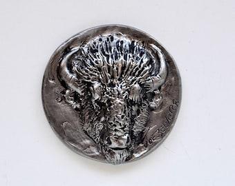 Vintage Joe Beeler Buffalo Pewter Paperweight Medallion