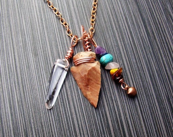 MADE TO ORDER Courage,strength,and protection chakra necklace on thick copper chain