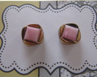Glass button studs Pink & gold vintage glass buttons, pink button earrings, small hypoallergenic post earrings, handmade pink stud earrings