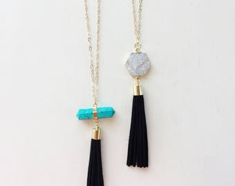 Suede Tassel Necklace, White Druzy, Turquoise Howlite Necklace, Long Necklace, Statement Necklace, Layering Necklace, Gold Necklace, Boho