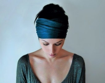 PEACOCK BLUE Head Scarf - Bohemian Headband - Dark Teal Blue Hair Wrap - Non Slip Jersey Headband - Yoga Headband - Boho Hair Accessories