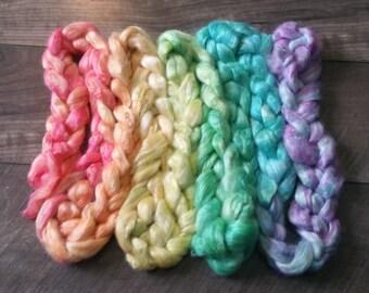 3.95 oz 100% tussah silk roving hand painted hand dyed light rainbow gradient for spinning yarn making felting needle arts soft luxury fiber