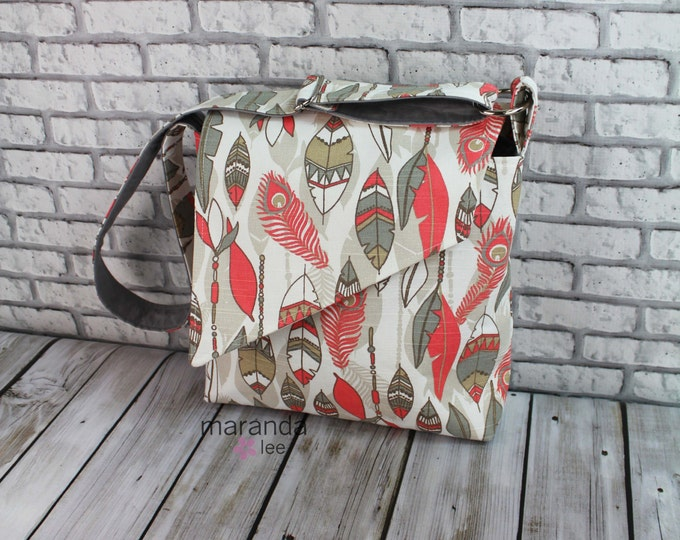 Nori Flap Messenger Slouch Bag with Adjustable Cross Body Bag - Coral Southwest Feathers - iPad Bag