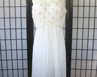 Vintage 1940s Negligee Blue Swan Slip Ivory White Pink Green Flowers Bows Lace Nightgown 38 40 Bust L XL Extra Large Chemise