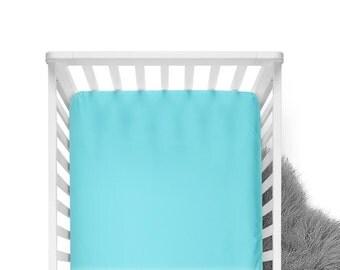 Fitted Crib Sheet - Aqua - Solid Crib Sheet - Flat Crib Sheet - Crib Sheet - Toddler Sheet - Baby Sheet -Solid Aqua Fitted Sheet-Bedding