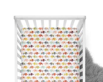 Fitted Crib Sheet Elephant March- Elephant Crib Sheet- Moroccan Crib Sheet- Elephant Crib Bedding- Baby Bedding- Organic Sheet- Minky Sheet