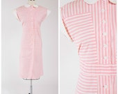 Vintage 1940s Dress • Optimist Outlook • Pink Striped Cotton 40s Day Dress Size Medium