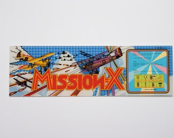 """Vintage 1980's Mission-X Arcade Game Marquee Header - Airplane Military Graphics - Arcade Video Game Decor 22"""" by 7"""""""