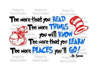"SVG -Dr Seuss Inspired Quote ""...Oh, the places you'll go"" - Digital file - INSTANT DOWNLOAD - svg, png, pdf, silhouette"