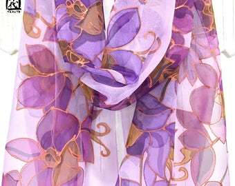 Large Silk Scarf Hand Painted, ETSY, Gift for her, Chiffon Scarf Silk, Copper Gold, Purple and Pink Orchids scarf, Takuyo, 14x72 inches.