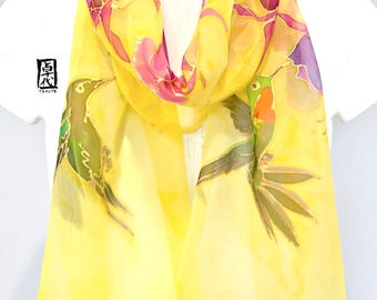 Bird Scarf, Mothers Day Gift, Hummingbird Scarf, ETSY, Silk Scarf Handpainted, Yellow Scarf, Hummingbird and Fuchsia, 11x60 inches.