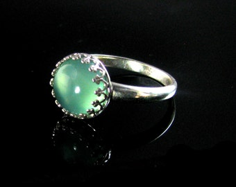 Chalcedony  Ring Sterling Silver Chalcedony  ring Chalcedony  jewelry gemstone ring, Green Ring, MADE TO ORDER