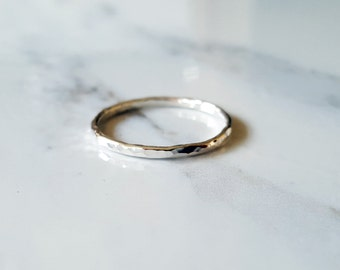 Silver Ring- Stacking Rings- Silver Stacking Ring- Hammered Ring- Simple Ring