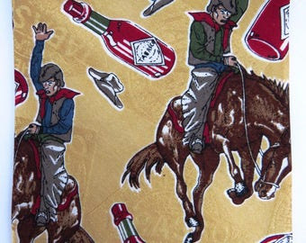Vintage Western Themed Mens Necktie by Tabasco - Bronco Rider Tie - Cowboy Hats Tabasco Sauce -  Guy Gift - Fathers Day