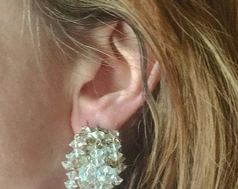 Crystal Large Earrings 1980s Bridal Statement Wedding