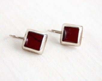 Square Red Earrings Vintage Mexican Dangles Minimalist Sterling Silver Everyday Geometric Jewelry