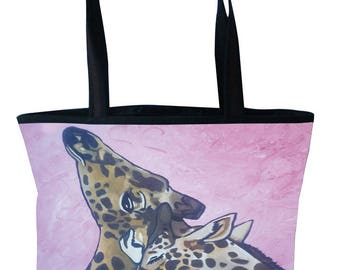 Giraffes Large Handbag, Tote Bag by Salvador Kitti - On Sale - From My Original Painting, Comfort