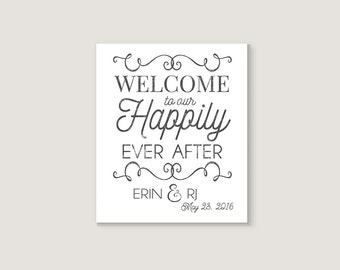 Welcome Wedding Sign -  Fairy Tale Wedding - Happily Ever After - Welcome Sign - Wedding Signage - Personalized Wedding - Ceremony Sign