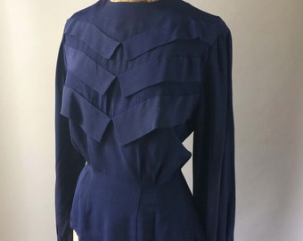 Femme Fetal 1940s Vintage Rayon Navy Blouse Pleated Ruffle Front Long Sleeves 34