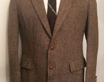 On Sale Vintage MENS Harris Tweed for Middishade brown herringbone wool tweed jacket, sport coat or blazer, tailored in U.S.A.
