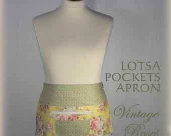 Lotsa Pockets Apron, Vendor Apron with zipper pocket, Teacher- Waitress- Farmer's Market - Vintage Roses, LIMITED EDITION ready to ship
