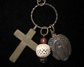 Treasure Necklace Russian Orthodox Cross Lady of Mount Carmel Heaven Star and Sacred Heart Relic