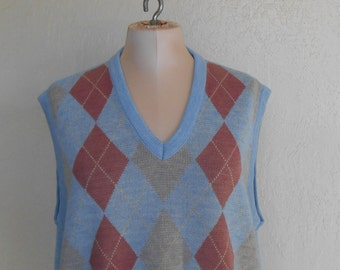 Sweater Vest Knit Argyle Men's Large Vintage SporThomson Blue