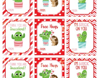 Catcus Love Valentine's Day Cards (set of 9) , Valentine's Day Cards, Printable,Instant Download, Digital