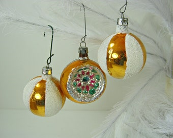 Vintage MERCURY GLASS ORNAMENTS Set/3 Gold INDeNTS & Snow Christmas Tree