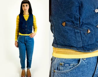 Vintage 1970s Levi's Dark Denim Wash and Leather Button Up Jean Vest Fits Like Size XS Extra Small // S Small