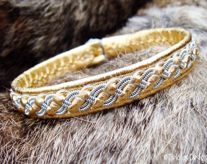 Gold Leather Bangle FENRIR Swedish Sami Bracelet decorated with Pewter Braid and Custom Handmade to your size and color