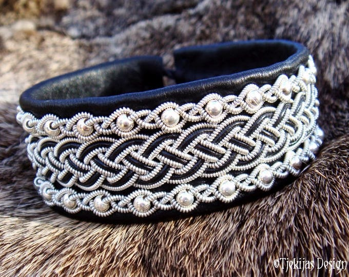 Viking Bracelet Cuff GERI Scandinavian Sami Bracelet in Black Reindeer Leather with Sterling Silver beads - Handcrafted Lapland Beauty