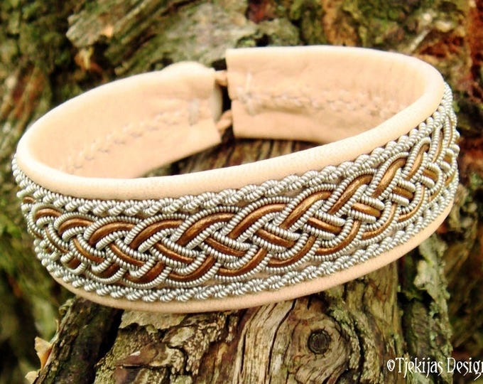 Scandinavian Shieldmaidens and Vikings Bracelet GIMLE Handmade Pewter Braid and Leather Cuff in Natural and Bronze