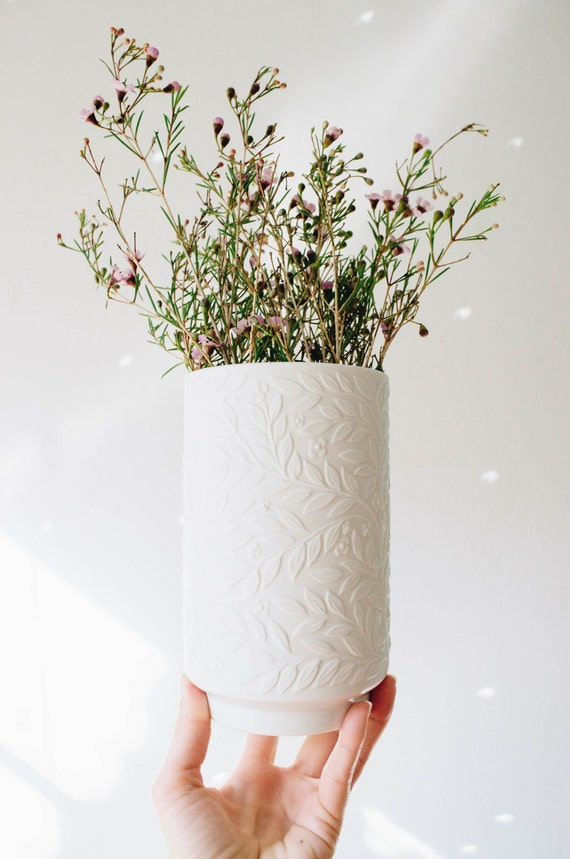 Mid Century Matte White Porcelain Botanical Vase // Heinrich West Germany