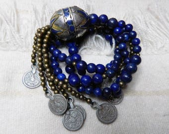 Gilded BLUE Enamel Turkomen Beaded Necklace; Lapis Lazuli; Brass Beads; Extra Long Boho Statement Piece; Silver Plated Afghani Coin Tassel.
