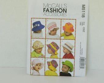 Baby Hat Pattern - McCalls 5118 - Children's Accessories - Baby Hat Pattern - Pattern Destash - Sewing Supplies - Unisex Hat Pattern - Child
