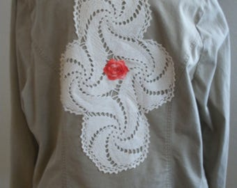 Tan Beige Plus Size Upcycled Jacket with Vintage Lace, Buttons & Doilies - Size 18/20