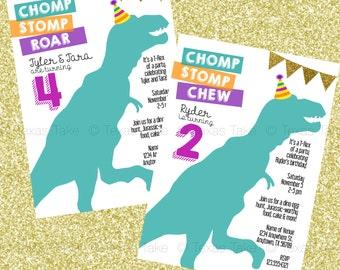 Dinosaur Birthday Invitation - Printable Party Invite - Boy/Girl Birthday, Twins, Triplets, Quadruplets Birthday Party
