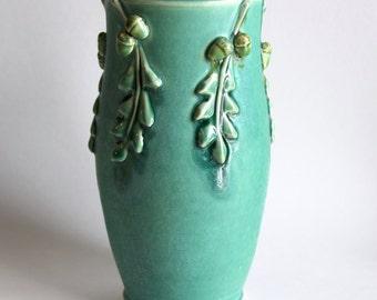 Oak Leaf Modern Hand Thrown Vase with Acorns - Aqua Teal - Minimalist Home Decor - One of a Kind - READY to SHIP